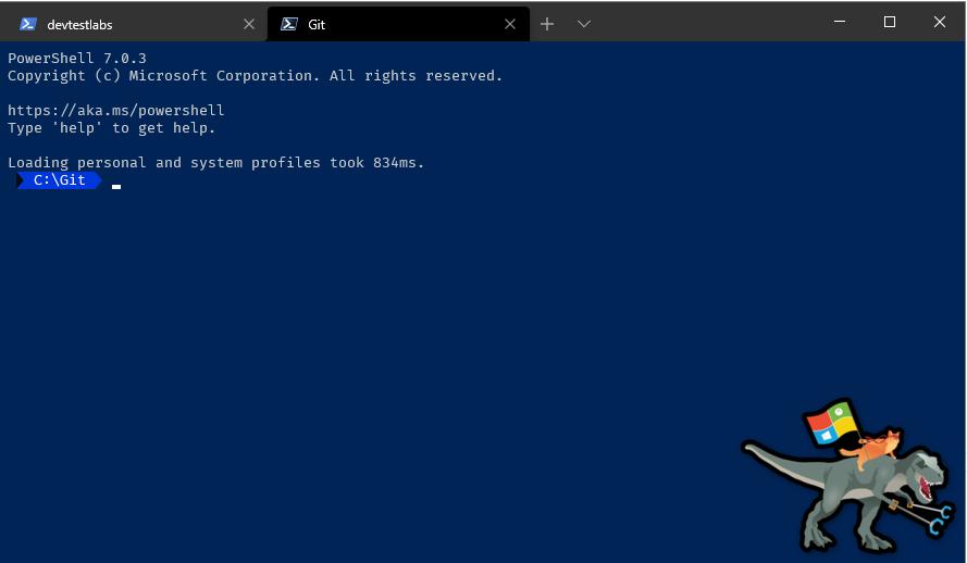 Screenshot of Powershell 7.1 layout in Windows Terminal